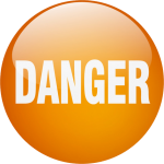 """The word """"danger"""" on an orange button."""