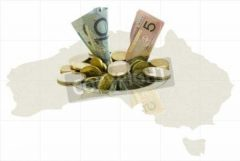 Money going Down a Drain on Map of Australia