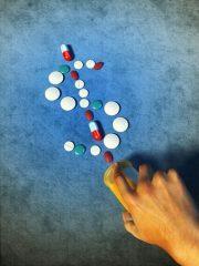 different pills forming a dollar symbol.