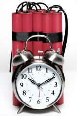 Alarm Clock and Sticks of Dynamite Fashioned into a Time Bomb