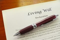 Pen on top of living will document